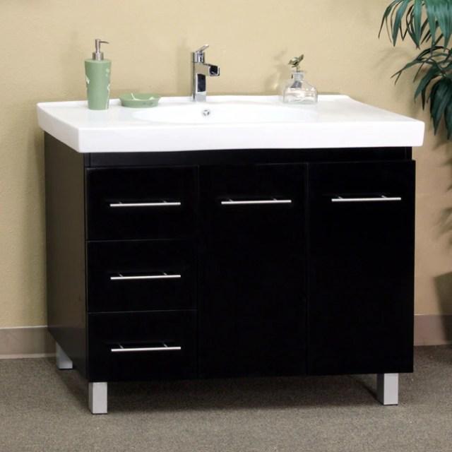 Shop Black Wood 39-inch Single Sink Vanity with Left Side ... on {keyword}