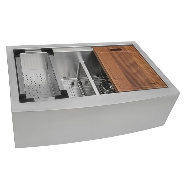 shop ruvati 36 apron front workstation low divide double on farmhouse sink lowest price id=55983