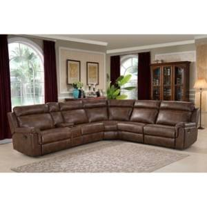 Buy Reclining Sectional Sofas Online at Overstock com   Our Best     Nicole Brown Large 6 piece Family Sectional with 3 Recliners  Cup Holders   and