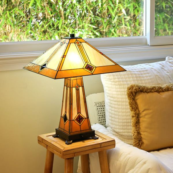tiffany style golden mission table lamp with lit base gold