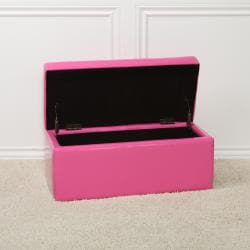 Pink Patent Leather Bench Storage Ottoman Free Shipping