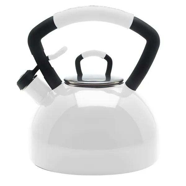 KitchenAid White Porcelain Enameled Whistling 225 Quart Tea Kettle Free Shipping On Orders