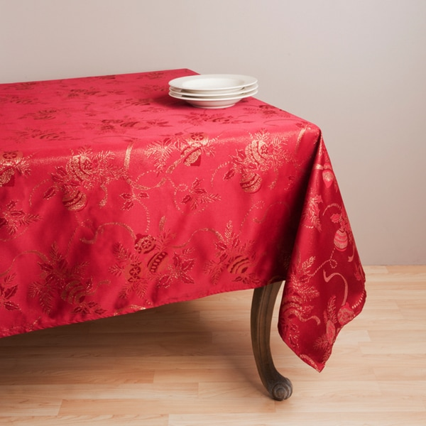Shop Jacquard Red Holiday Tablecloth 70 X 120 On