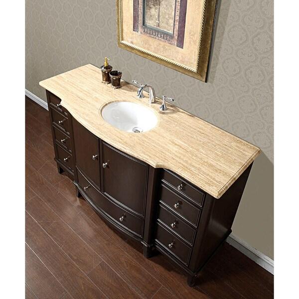 silkroad travertine stone top 60 inch dark walnut bathroom single sink vanity