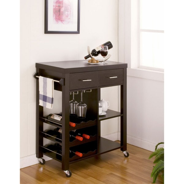 Furniture Of America Stewardee Contemporary Mobile Kitchen Bar Cart Free Shipping Today