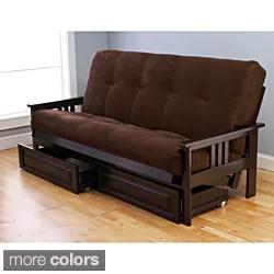 Somette Beli Mont Espresso Full Size Wood Storage Futon With Mattress