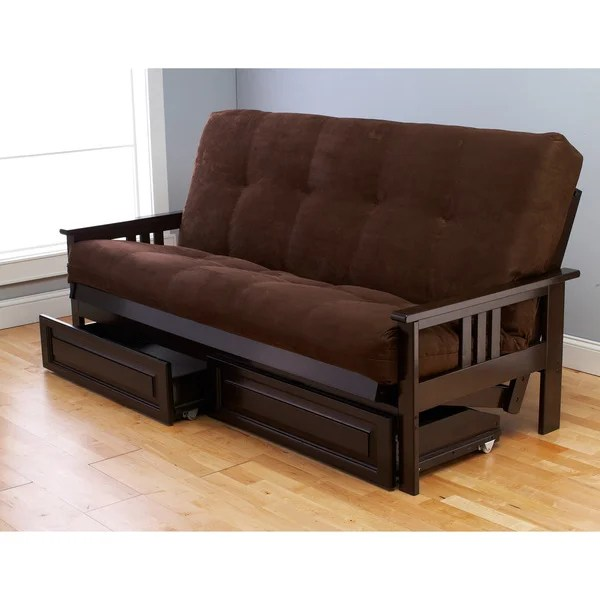 Somette Beli Mont Espresso Full Size Wood Storage Futon With Mattress