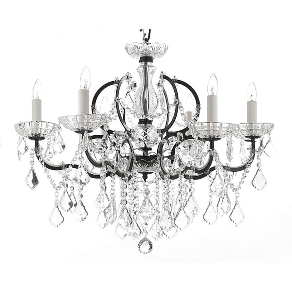 Gallery Rococo 19th C 6 Light Black Wrought Iron And Crystal Chandelier
