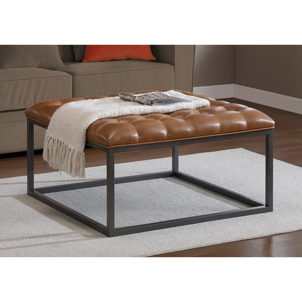 Tan Leather Storage Ottoman