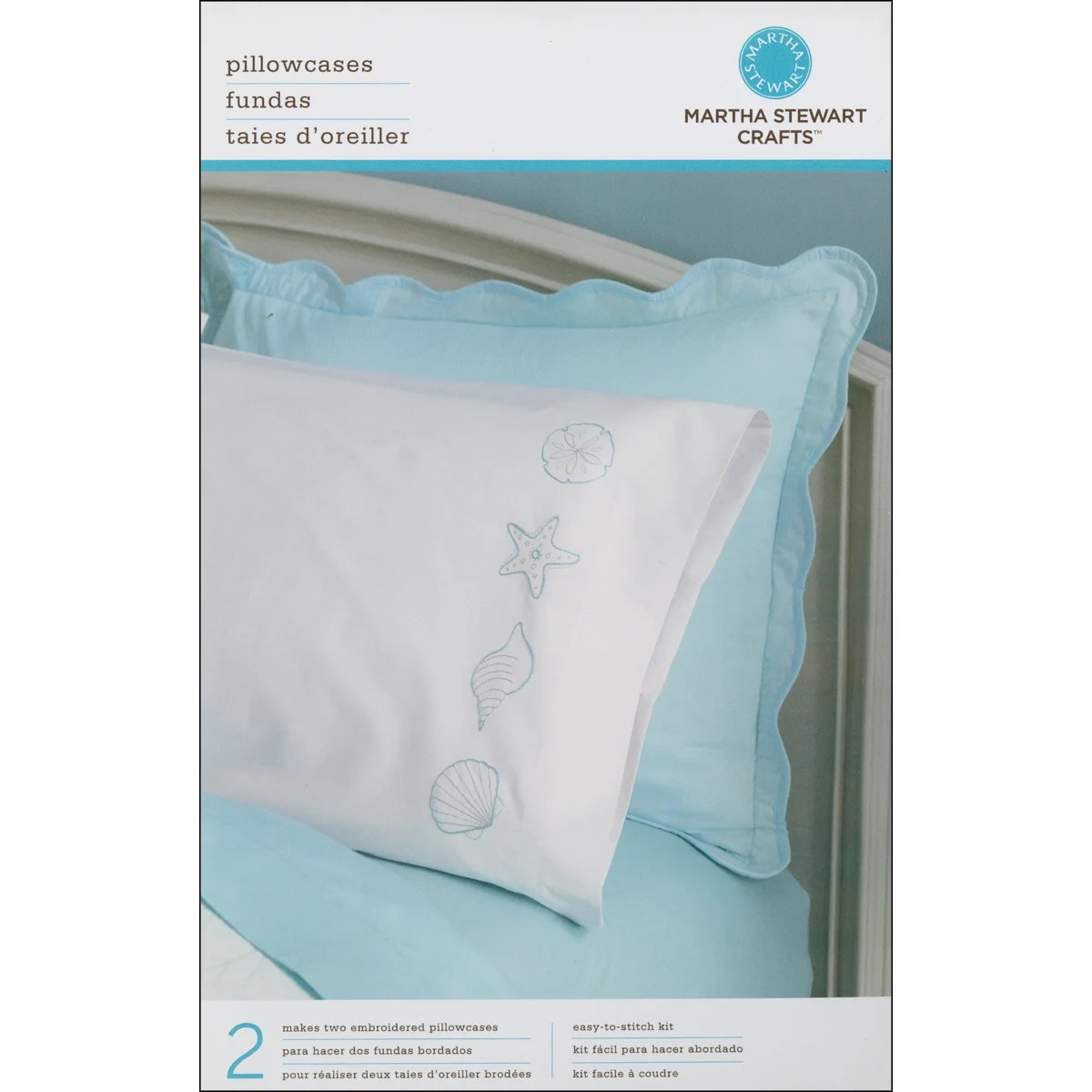 shop martha stewart pillow cases stamped embroidery kit shells 2 pkg free shipping on orders over 45 overstock com 6770641