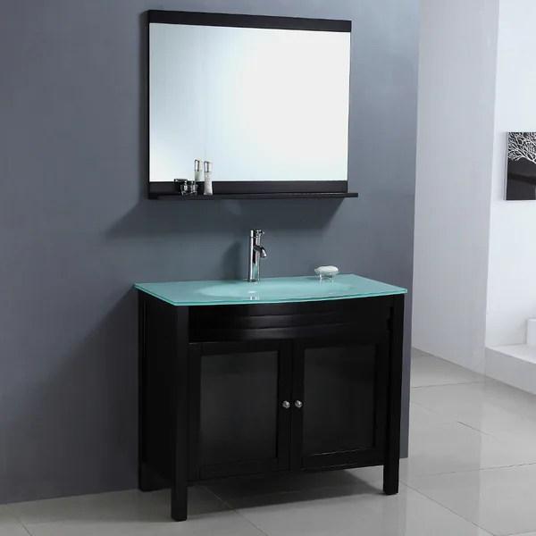 Shop Modern Tempered Glass Top Single Sink Bathroom Vanity ...