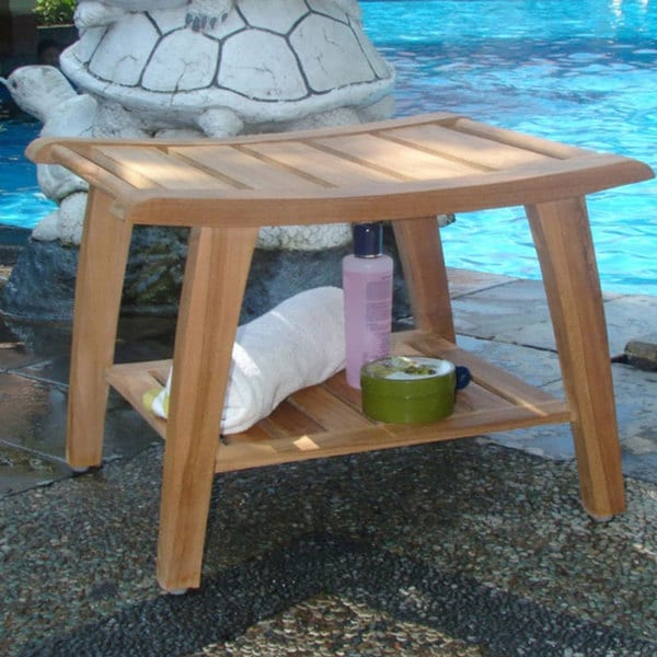 Shop Solid Teak Shower Bench Free Shipping Today