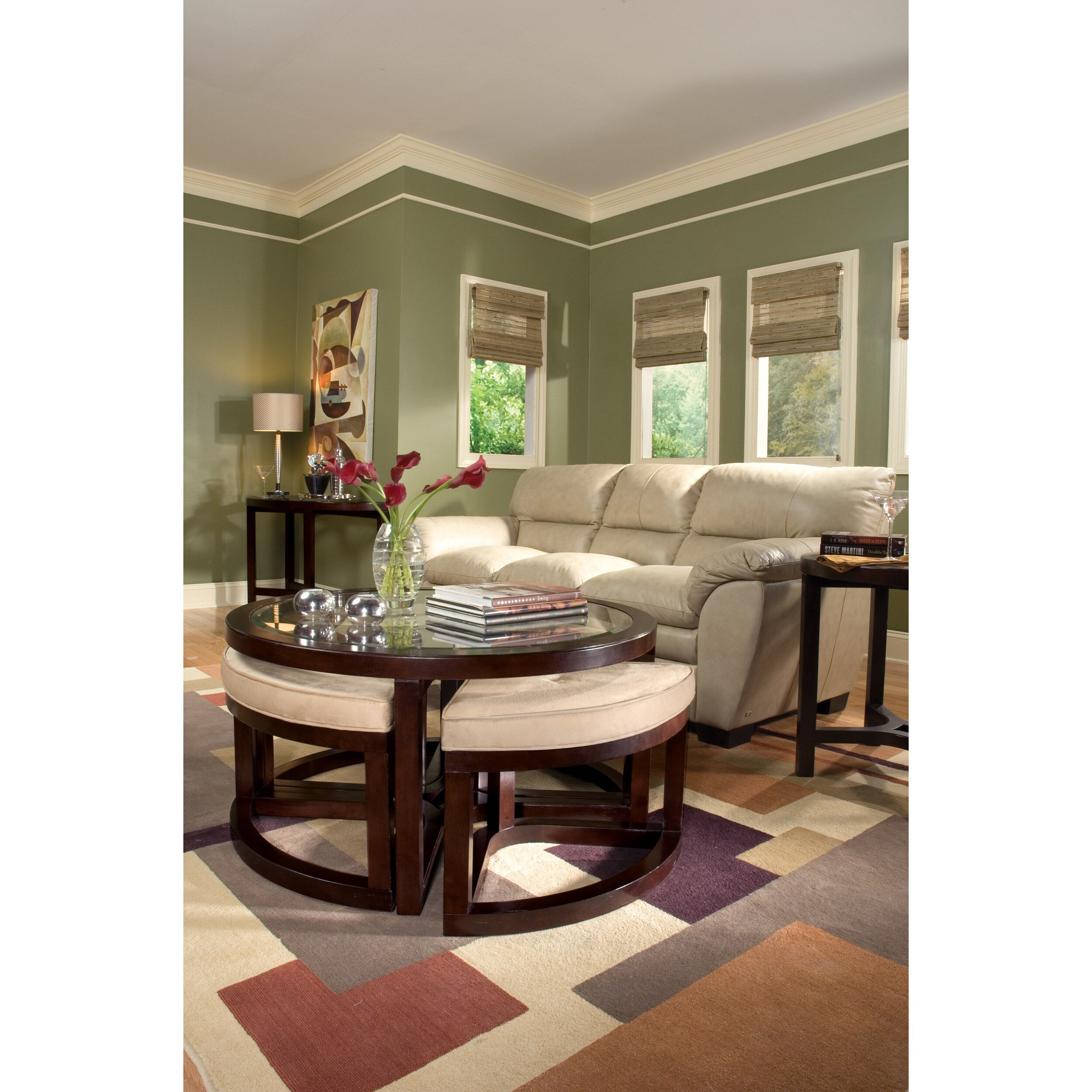 juniper mink brown wood round cocktail table and 4 piece stools set