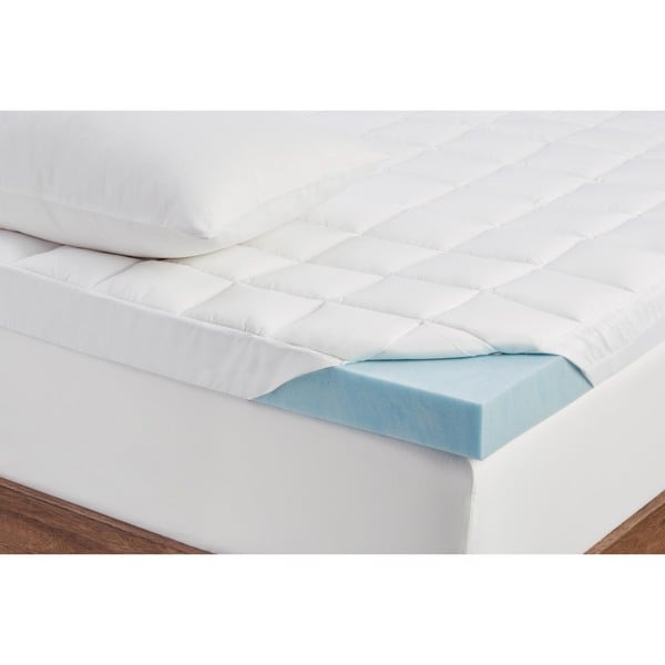 Comforpedic Loft From Beautyrest 3 Inch Supreme Gel Memory Foam And 1 5 Fiber Mattress Topper With Cover Free Shipping Today
