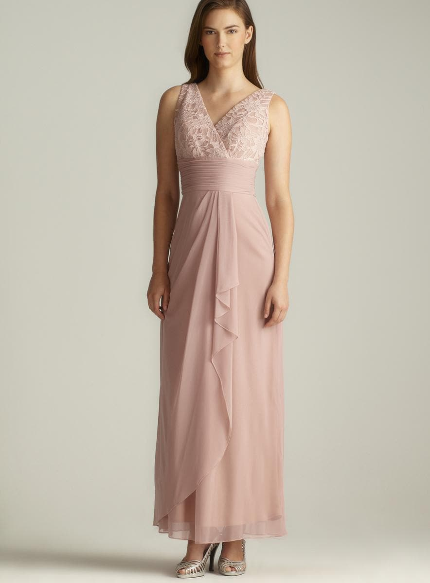 Calvin Klein Draped Chiffon Halter Gown