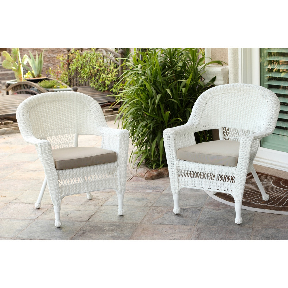 white wicker chair set of 2