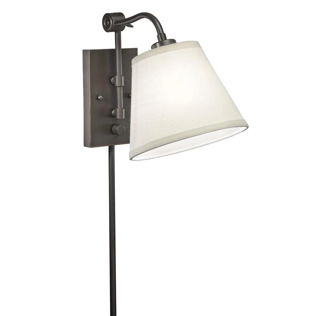 Swing Arm 1-light Plug-in Bronze Wall Lamp - Overstock ... on Plugin Wall Sconce Lights id=78619