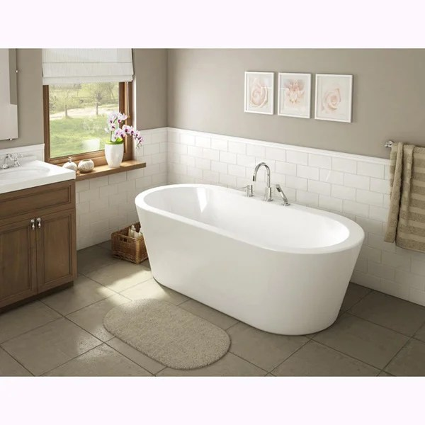 Una Pure Acrylic 71 Inch All In One Oval Freestanding Tub