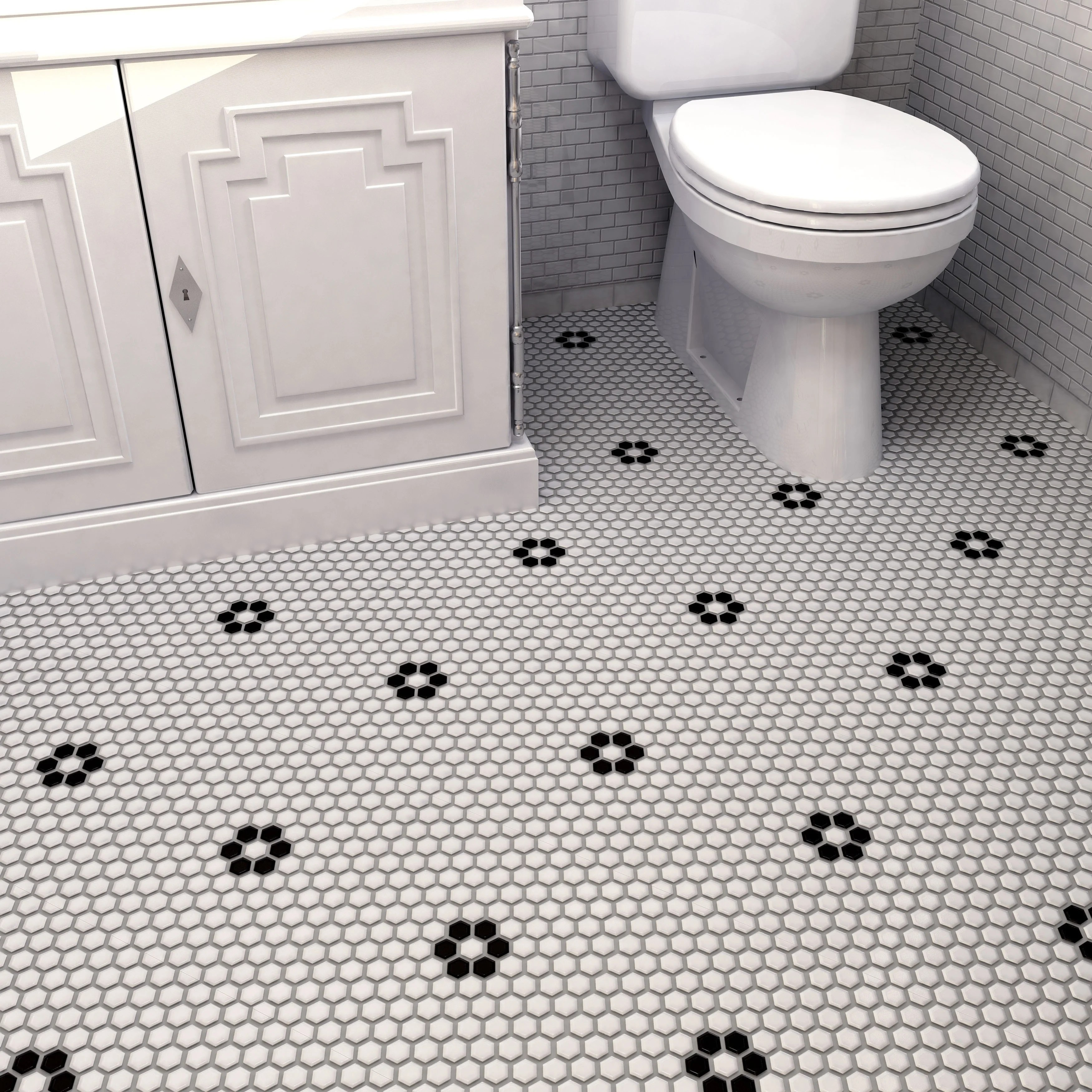 somertile metro hex matte white with single flower 10 25 x11 88 porcelain mosaic floor and wall tile