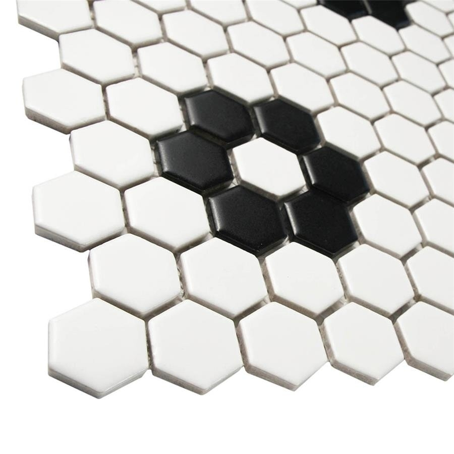 somertile metro hex matte white with flower 10 25 x11 88 porcelain mosaic floor and wall tile