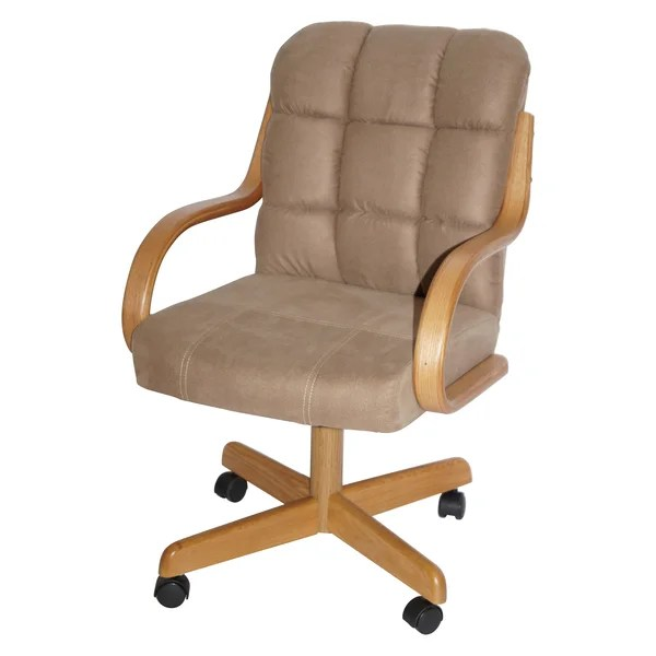 Brown Upholstered Casual Rolling Dining Chair Overstock