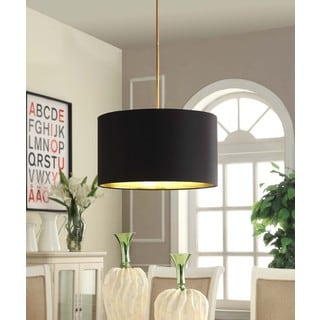 Gold Foil Lined Pendant with Black Shade