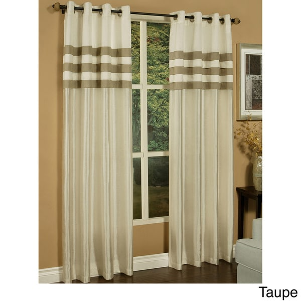 Shop Sherry Kline Faux Silk Stripe Pleats Grommet Top Curtain Panel Pair Free Shipping Today