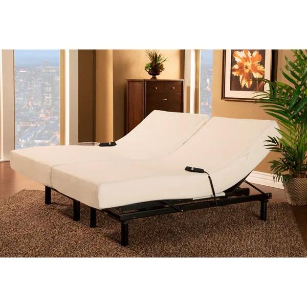 Sleep Zone Loft Single Motor Adjule Bed With Split King Size Visco Memory Foam Mattress