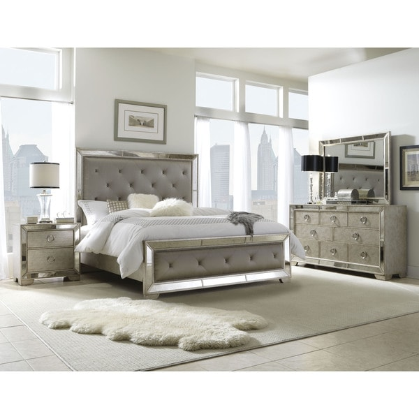 celine 5-piece mirrored and upholstered tufted king-size bedroom