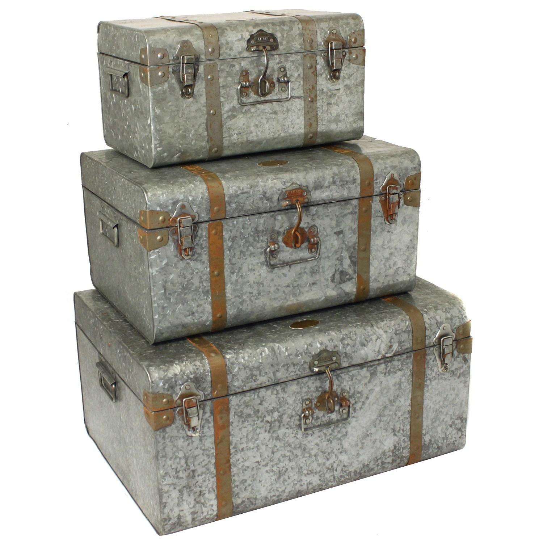 Shop Diamond Galvanized Metal Decorative Trunk Cases Overstock 8440340