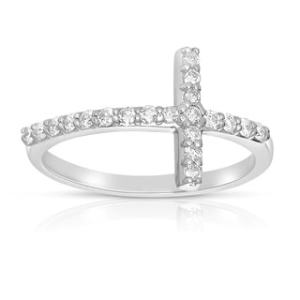 Shop Victoria Kay 14k Gold 1 6ct TDW Diamond Curved Sideways Cross     Eloquence 14k White Gold 1 3 TWD Sideways Diamond Cross Ring