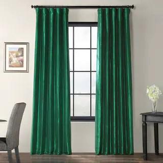 Shop Exclusive Fabrics Emerald Green Faux Silk Taffeta Curtain Panel Free Shipping Today