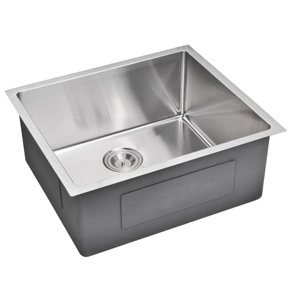 water creation 23 inch x 20 inch 15 mm corner radius single bowl stainless steel hand made undermount kitchen sink