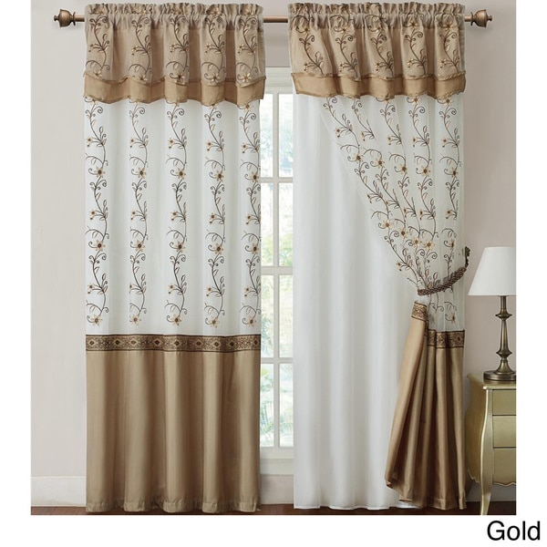 Curtains With Attached Valance 2pcs Curtain Set