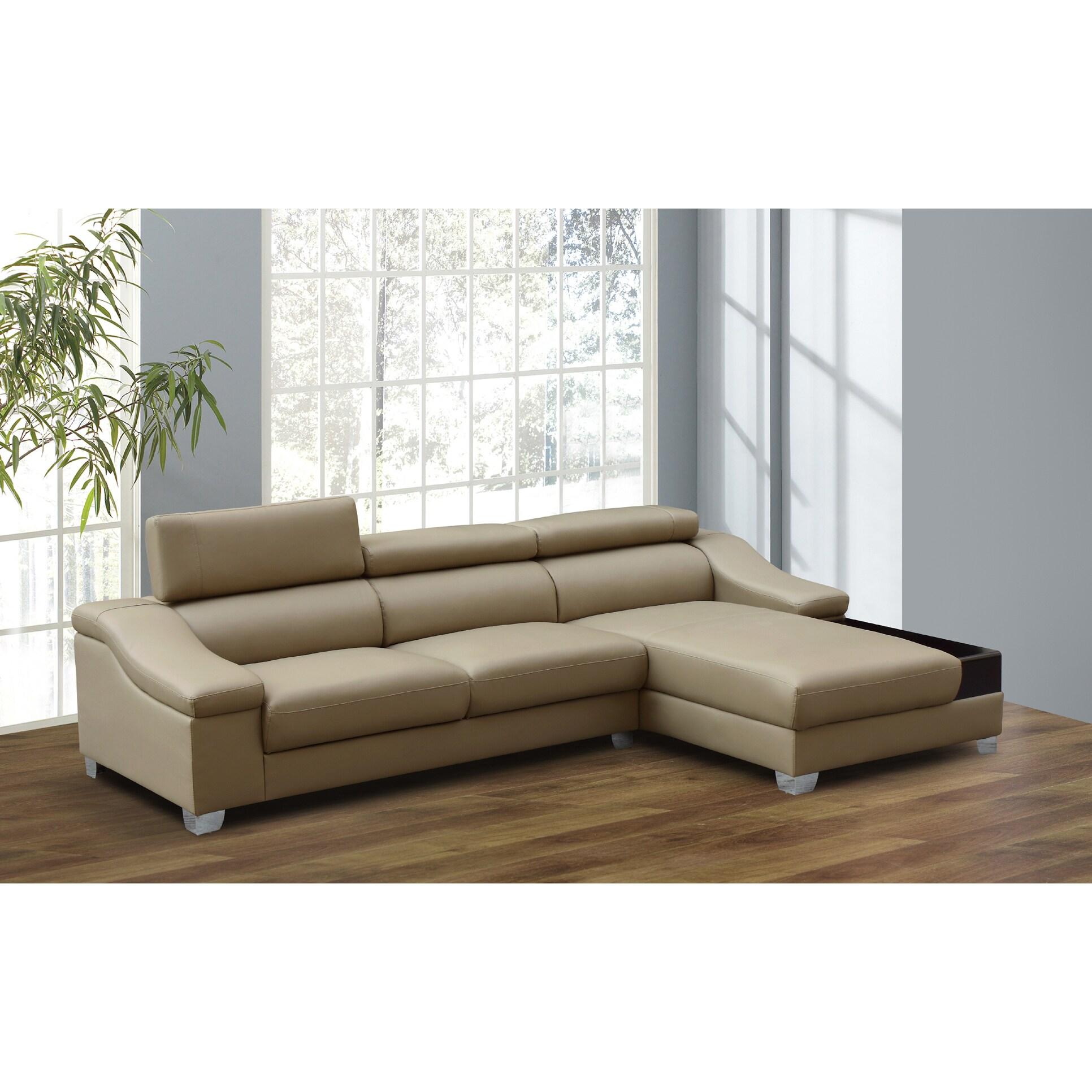 miller 2 piece dark beige modern bonded leather sectional sofa set
