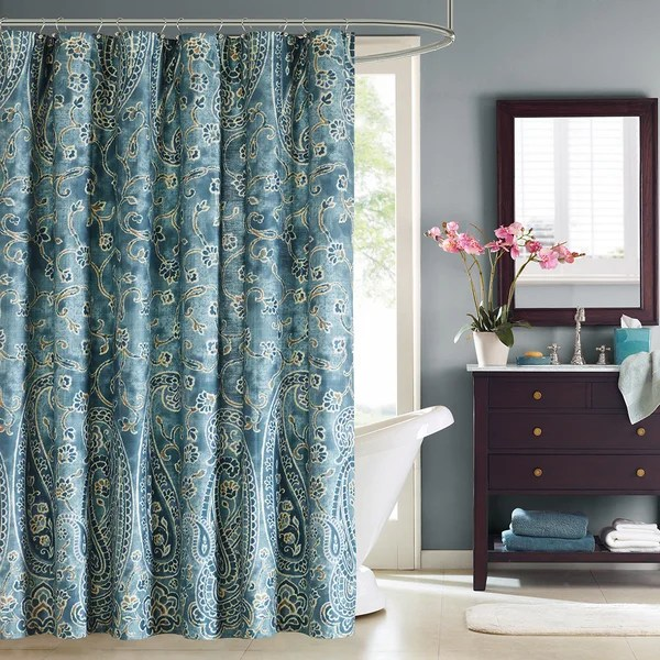 Shop Windsor Paisley Cotton Shower Curtain Free Shipping