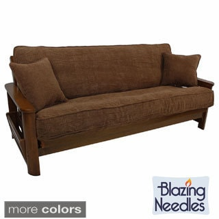 Blazing Needles Solid Chenille Double Corded Futon Cover Set With Two Throw Pillows 54