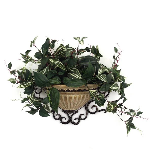 Camilla Wandering Jew Wall Sconce Silk Plant - 16052330 ... on Wall Sconces For Greenery Decoration id=16992