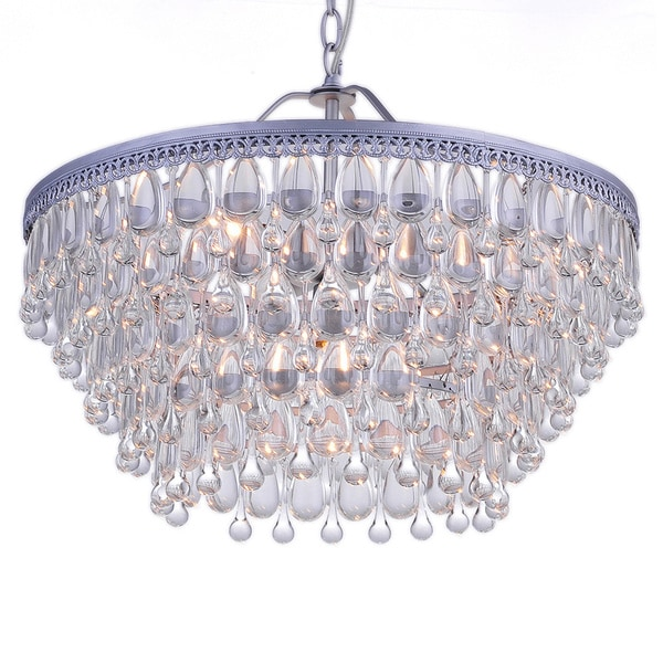 Wesley Crystal 6 Light Chandelier With Clear Teardrop Beads Free Shipping Today 16092286