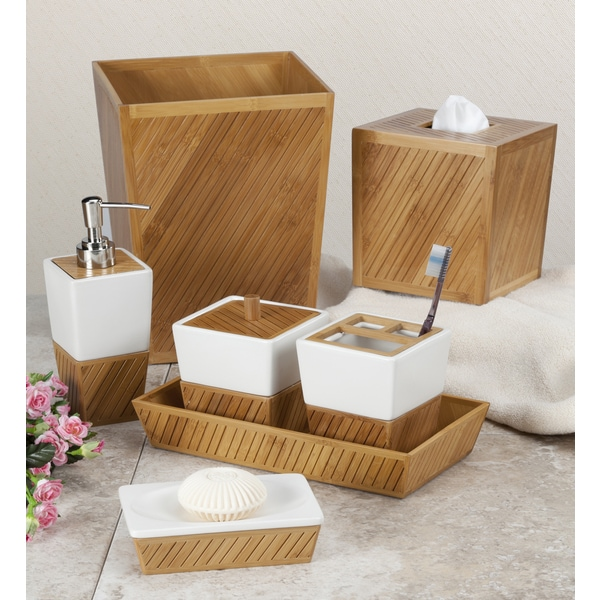 white ceramic bamboo bathroom accessory set - free shipping on