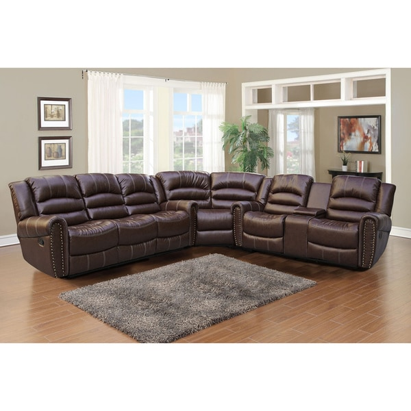Gilbert Brown Bonded Leather 3 Piece Sectional Sofa Set Free  sc 1 st  Centerfieldbar.com : lawson 3 piece sectional - Sectionals, Sofas & Couches