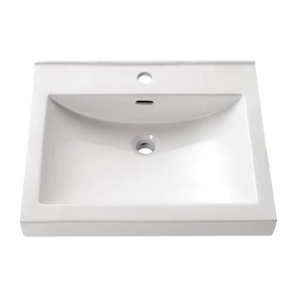 avanity rectangular 21 7 inch semi recessed white vessel sink 21 7 w x 6 3 d 21 7 w x 6 3 d