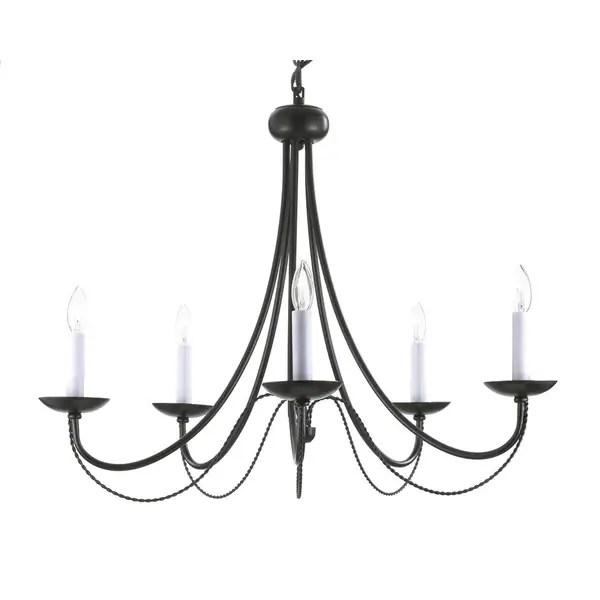 Gallery Versailles 5 Light Black Wrought Iron Chandelier