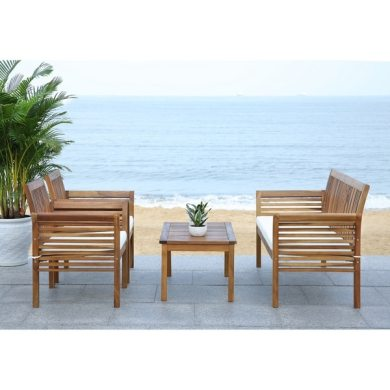 Shop Safavieh Carson Acacia Wood 4 piece Outdoor Furniture Set   On     Safavieh Carson Acacia Wood 4 piece Outdoor Furniture Set