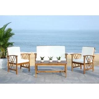 Shop Safavieh Outdoor Living Cushioned Brown Acacia Wood 4 ... on Fontana 4 Pc Outdoor Set id=81965