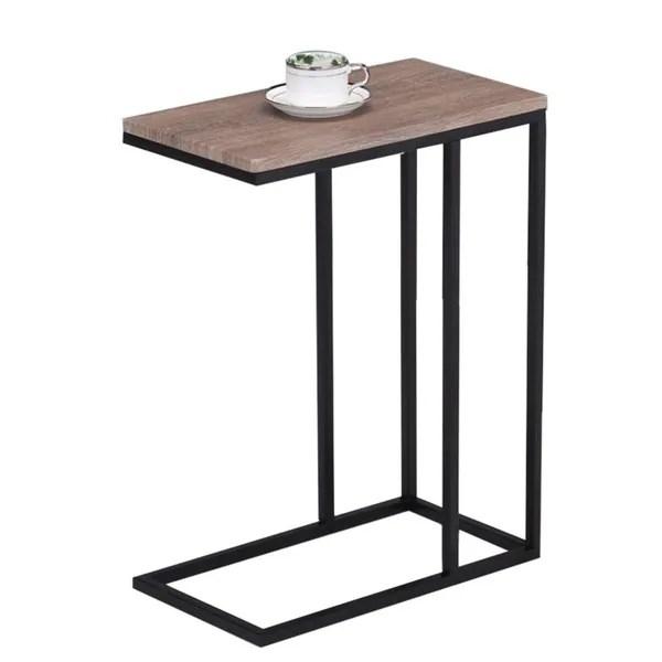 Reclaimed Wood Look Finish Black Metal Snack Table Free