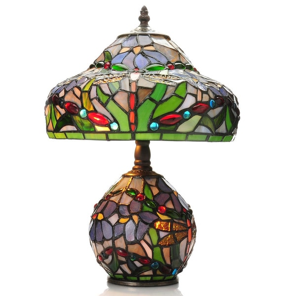 Tiffany Style 155 Inch Dragonfly Double Lit Stained Glass Table Lamp Free Shipping Today