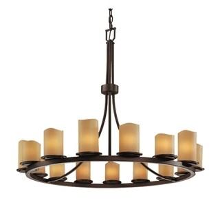 Justice Design Group Candlearia Dakota 15 Light Dark Bronze Chandelier Amber Cylinder Melted