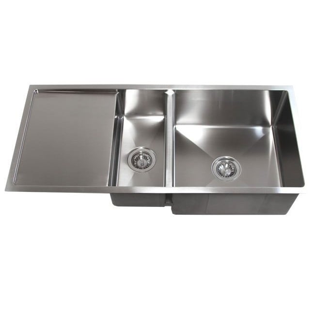 42 inch double bowl undermount 15mm radius kitchen sink with 13 inch drainboard