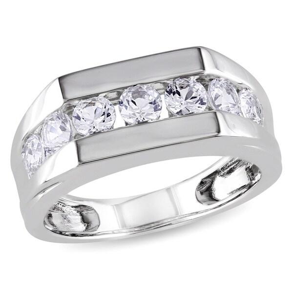 Miadora Sterling Silver Channel Set Created White Sapphire